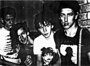 UK Decay summer 1981 on their return to the UK with 'Creeton K-os' (left) now on bass. Abbo, Steve Harle and Spon (right)