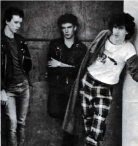 The three peice UK Decay, after changing their name from The Resistors. Picture from The Split Single spring 1979. from the left, S.Harle, Segovia, Abbo